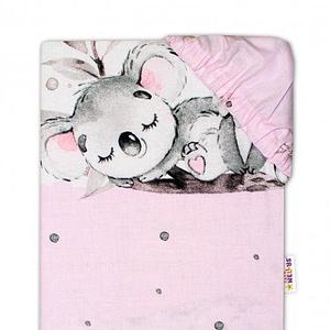 Baby Nellys Detské bavlnené prestieradlo do postieľky - Medvedík Koala, růžová