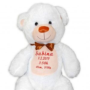 Baby nellys plyšový medveď 100 cm s výšivkou na želanie - biely