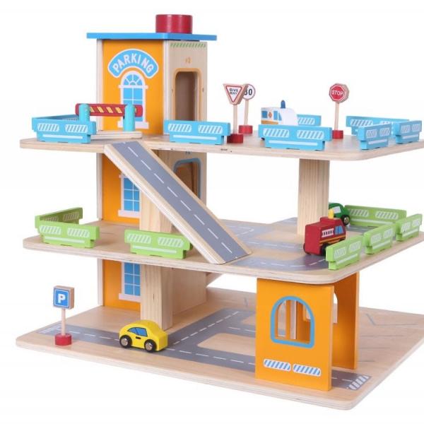Drevená Parkovacia Garáž S Výťahom Eco Toys