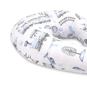 Baby Nellys Bavlnený Dojčiace Vankúš - Vláček, Modrá