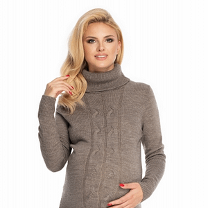 Be Maamaa Dlhý tehotenský sveter, šaty pletený vzor - cappuccino