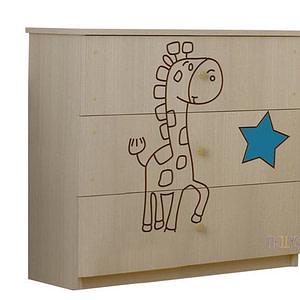 BabyBoo Detská komoda - Žirafka modrá
