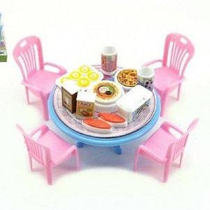 Teddies Stôl a stoličky s doplnkami plast 12cm asst 3 farby v blistri
