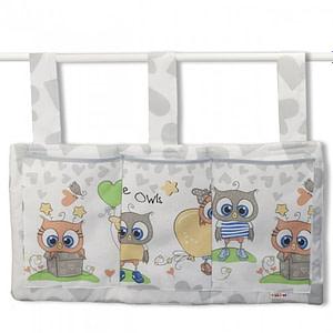 Baby Nellys Vreckár na postieľku Cute Owls - sivý