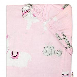 Baby Nellys Detské bavlnené prestieradlo do postieľky - Lama - ružové
