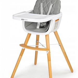 Eco Toys Jedálenská Stolička, Stolček 2V1 S Prešívaným Polstrovaním - Sivá