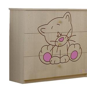 BabyBoo Detská komoda - Mačička ružová