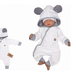 Z&z velúrový dojčenský overal s kapucňou a uškami - bielo, šedý