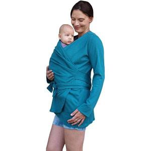 JOŽÁNEK Zavinovací kabátik pre nosiace, tehotné - biobavlněný - petrolejový