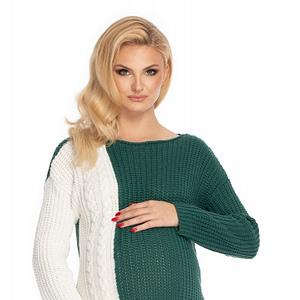 Be Maamaa Tehotenský sveter, pletený vzor - zelená/biela