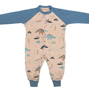 Mamatti Dojčenský Bavlnený Overal Bez Šlapiek Dinosaurus, Modrý S Potlačou, Krémový