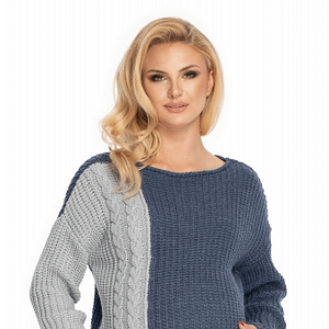 Be Maamaa Tehotenský sveter, pletený vzor - jeans /sivá