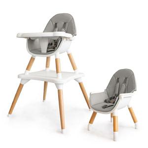 Eco toys Luxusný jedálenský stolček 2v1, 2020 - sivý, biely