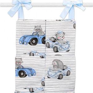 Bavlnený Vreckár Na Postielku Baby Car, Modrá