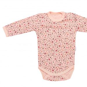 Mamatti Dojčenské Body Dl. Rukáv, Kvetinka - Púdrové S Potlačou