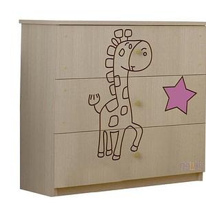 BabyBoo Detská komoda - Žirafka ružová