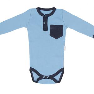 Dojčenské body/polo Mamatti dl. rukáv Happy - modré