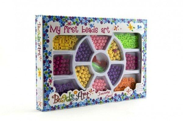 Korálky plast 0,5cm 2 farby v krabici 26x18cm