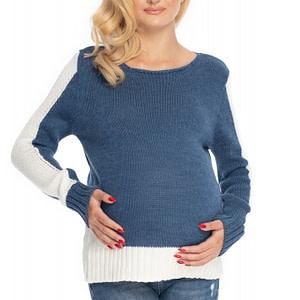 Be Maamaa Tehotenský sveter - jeans/biela