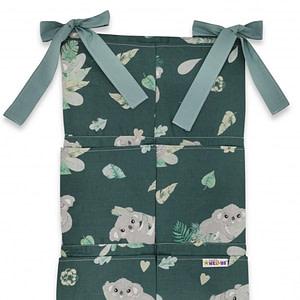 Bavlnený Vreckár Na Postieľku Baby Nellys 6 Vreciek, Tropical Koala, Zelená