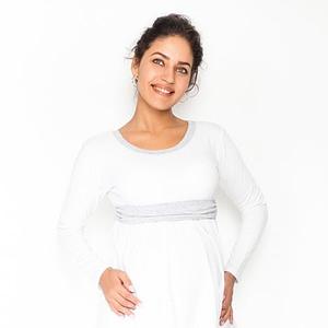 Be MaaMaa Tehotenská tunika s opaskom, dlhý rukáv Amina - biela /pásik sivý