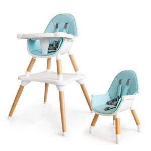 Eco toys Luxusný jedálenský stolček 2v1, 2020 - svetlo modrý, biely