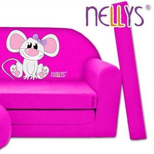 Rozkladacia detská pohovka Nellys ® Myška v ružovom