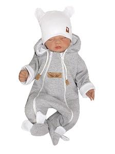 Z&z dojčenský overal dvojvrstvový, bavlnený - šedo/biela