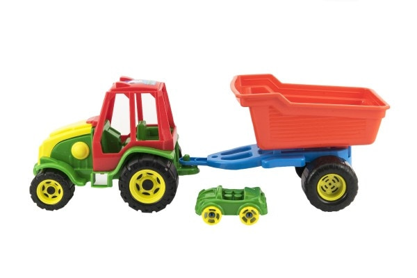 Teddies Traktor S Vlekom Plast 52Cm 2 Farby V Sieťke