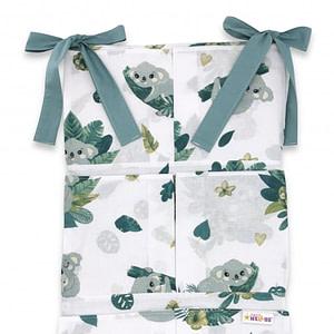 Bavlnený Vreckár Na Postieľku Baby Nellys 6 Vreciek, Tropical Koala, Zelená, Biela