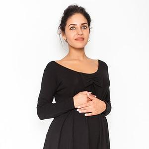 Be MaaMaa Volná tehotenská blúzka / tunika dlhý rukáv Aria - čierna