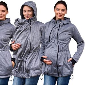 JOŽÁNEK Bunda pre nosiace, tehotné - softshellová (predné nosenie) - šedý melír