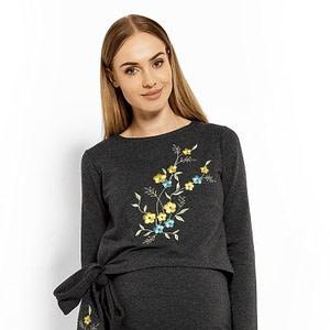 Be MaaMaa Elegantné tehotenské šaty, tunika s výšivkou a stuhou - grafit (dojčiace)