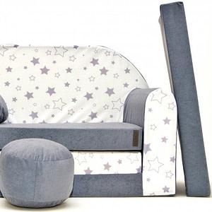 Rozkladacia detská pohovka Nellys ® 84R - Magic stars - šedé/bílé