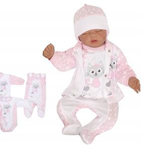 Z & z 4-dielna súpravička body, dupačky, kabátik a čiapočka mačička - ružová