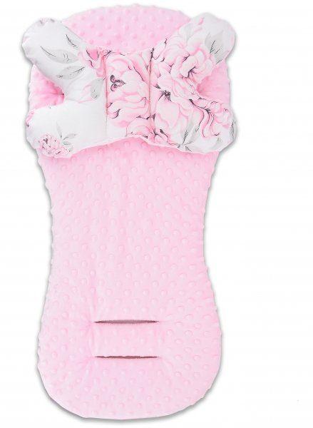 Sada do kočíka baby nellys minky plameniak - podložka + vankúšik - růžový