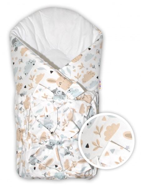 Baby nellys klasická retro šnurovacie zavinovačka zvieratká na pasece - béžová/biela