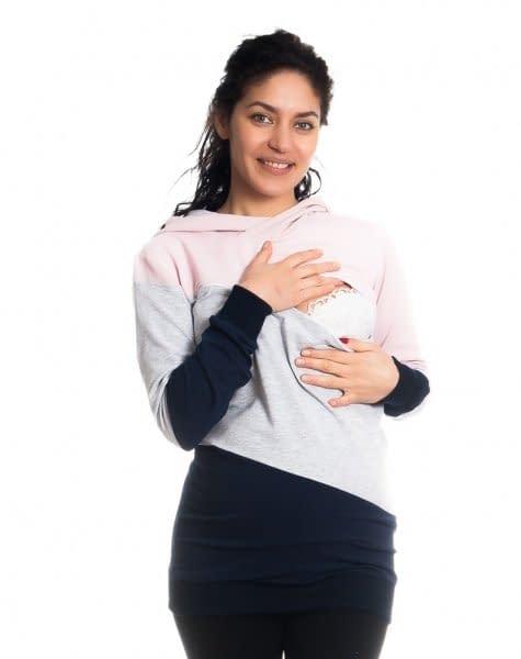 Be MaaMaa Tehotenské a dojčiace triko/mikina Tiffany s kapucňou , dl. rukáv, široké pruhy