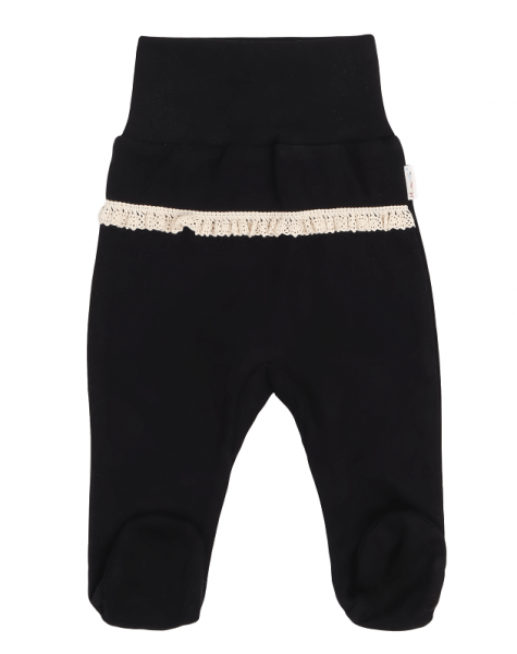 Mamatti Dojčenské polodupačky s čipkou, Mašle - čierne
