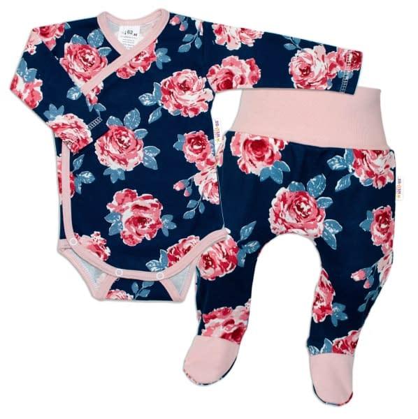 Baby nellys 2-dielna sada, body dl. Rukáv + polodupačky ruže, pudrová/granát