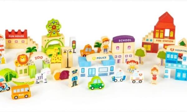 Drevené Kocky Eco Toys 120 Ks - Pastelové Farby, Zoo