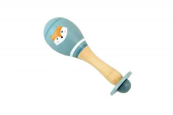 Adam Toys Drevená rumba gule líška - sivá