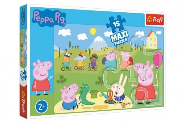 Puzzle prasiatko peppa / modré plavky šťastný deň 60x40cm 15 dielikov v krabičke 40x26x4,5cm 24m +