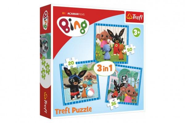 Puzzle 3v1 bing bunny zábava s priateľmi v krabici 28x28x6cm
