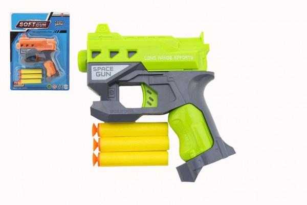 Pištoľ Na Penové Náboje S Prísavkami 3Ks Plast 12X14cm 2 Farby Na Karte