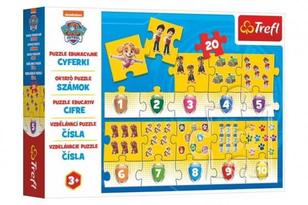 Puzzle Vzdelávacie Čísla Tlapková Patrola / Paw Patrol 20 Dielikov 117X19,5Cm V Krabici 33X23x6cm