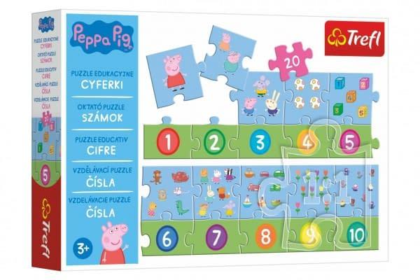 Puzzle Vzdelávacie Čísla Prasiatko Peppa/Peppa Pig 20 Dielikov 117X19,5Cm V Krabici 33X23x6cm