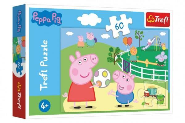 Puzzle Prasiatko Peppa / Modré Plavky Zábava S Priateľmi 33X22cm 60 Dielikov V Krabičke 21X14x4cm