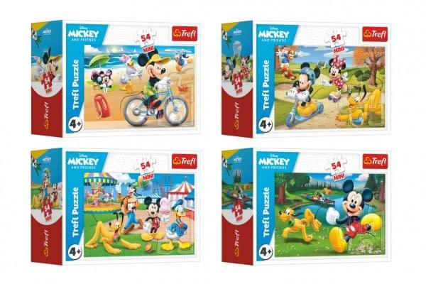 Minipuzzle 54 Dielikov Mickey Mouse Disney / Deň S Priateľmi 4 Druhy V Krabičke 9X6,5X4cm 40Ks V Box