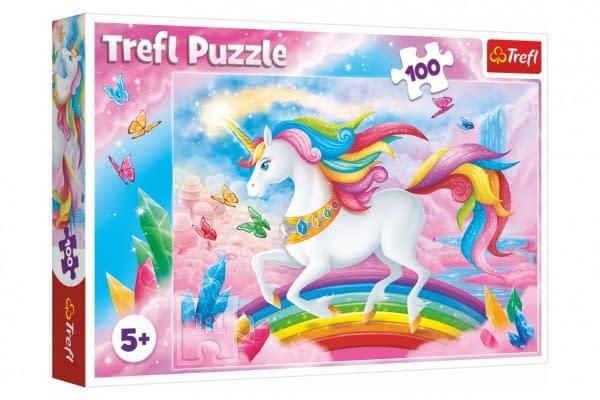 Puzzle V Krištáľovom Svete Jednorožca 100 Dielikov 41X27,5Cm V Krabici 29X19x4cm
